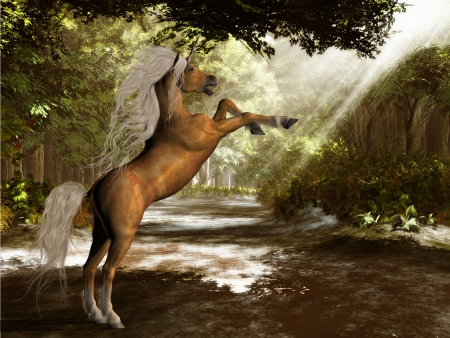 Forest Unicorn - A palomino colored unicorn rears up announcing that he owns this territory  Stock Photo