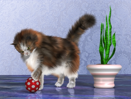calico: Oscar the House Cat - Oscar, a calico cat, plays with a red ball on a purple marble floor