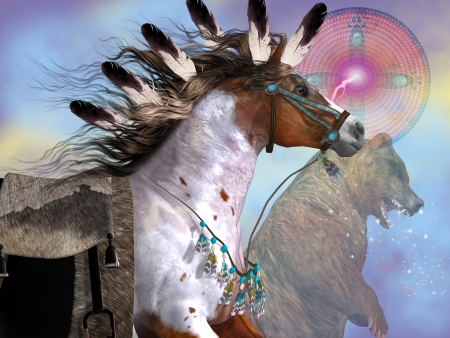indios americanos: Year of the Horse Bear - El oso en la cultura de los nativos americanos simbolizaba gran fuerza y ??poder en el caballo, que era una parte importante de la vida cotidiana de los indios Foto de archivo