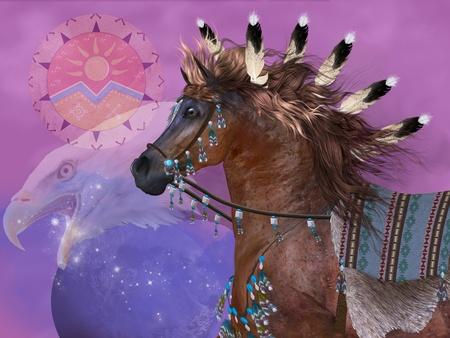 aguila americana: Year of the Horse Eagle - El águila en la cultura de los nativos americanos simbolizaba gran fuerza y ??poder en el caballo, que era una parte importante de la vida cotidiana de los indios