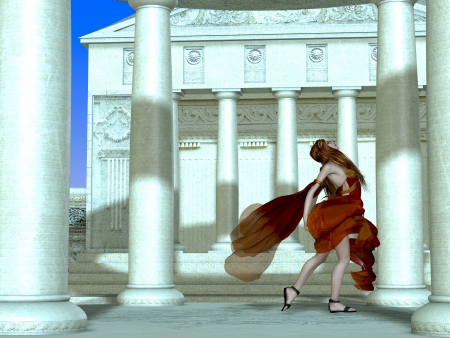 Roman Girl - A Roman palace erupts with laughter and gaiety as a young girl runs among the columns  Stock Photo