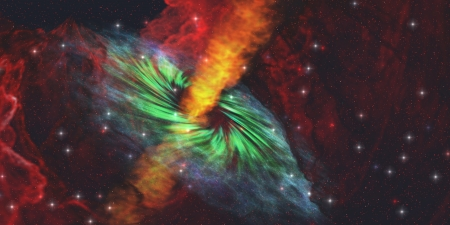 portal: Black Hole in Cosmos - Rays of hot plasma radiates out from the event horizon of this Black Hole