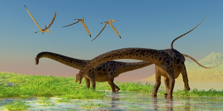 diplodocus: Diplodocus Feeding - A flock of Pterosaur birds fly over two Diplodocus dinosaurs feeding in a lush marsh  Stock Photo