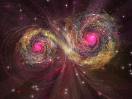 dual: Dual Star - Two large stars dance around each other as one engulfs the other  Stock Photo