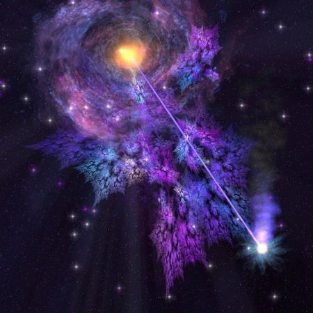 Galaxy - A shooting star radiates out from a black hole in the center of a galaxy