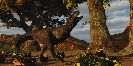 triassic: T-Rex Defiance - T-Rex bellows in frustration when he misses an attack on a prey dinosaur  Stock Photo