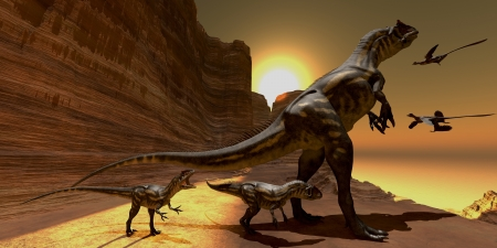 Allosaurus at Sunset - Mother Allosaurus watches as two Archaeopteryx birds fly to mountain cliffs to roost for the night  Stockfoto