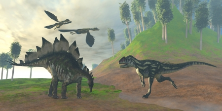 Allosaurus Hunt - Two Archaeopteryx birds call in alarm as an Allosaurus attacks an unaware Stegosaurus dinosaur  photo