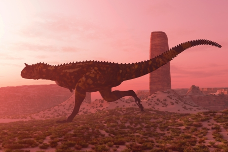 Carnotaurus on the Run - A bull Carnotaurus runs after his prey in the early morning light in a desert terrain