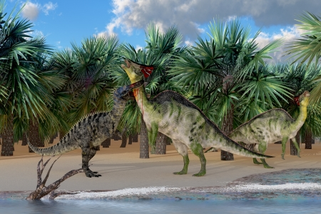 behemoth: Olorotian under Attack - An Olorotitan mother is attacked by a Suchomimus dinosaur while a juvenile Olorotitan honks in alarm  Stock Photo