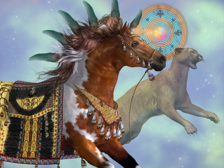 steed: Year of the Cougar Horse - A paint horse and a cougar cat are symbols of American Indian culture  Stock Photo