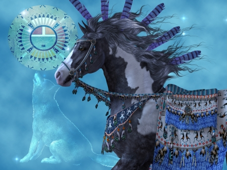 indio americano: Year of the Horse Wolf - Un caballo de la pintura negro y un lobo son s�mbolos de la cultura india americana