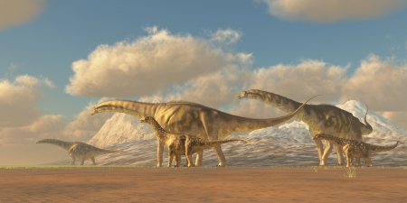 Argentinosaurus - A herd of Argentinosaurus dinosaurs walk towards more fertile vegetation to eat and water to drink.
