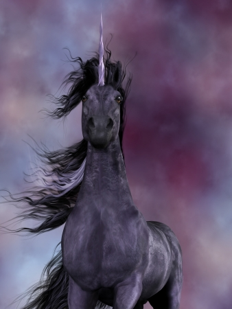 creature of fantasy: Black Unicorn - The Unicorn was a mythical creature which was a horse with a horn on its forehead and had amazing powers. Stock Photo