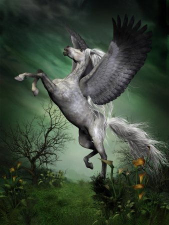 Dapple Grey Pegasus - A dapple grey pegasus takes to flight from a forest knoll with huge wing beats. Banque d'images