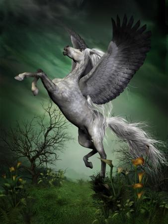 pegaso: Salpicado Pegasus - A dapple gris Pegaso lleva al vuelo de una loma bosque con grandes aleteos.