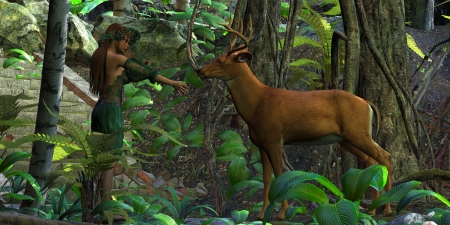 Fairy Forest - A fairy holds out her hand in friendship as a Whitetail Buck comes over to her.