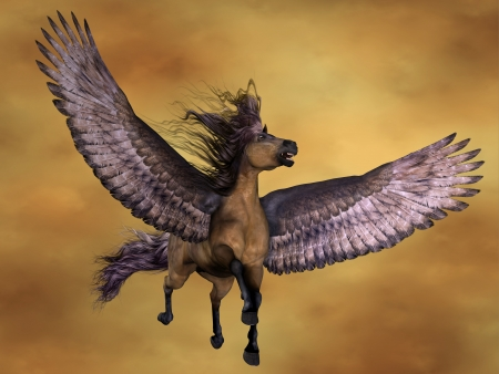 pegasus: Gruella Pegasus - Pegasus rises in the sky with on huge wings. This Pegasus is the horse color called Gruella. Stock Photo
