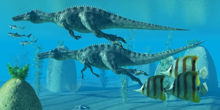behemoth: Suchomimus Dive - Two Suchomimus dinosaurs dive and search for big fish prey to capture and eat. Stock Photo