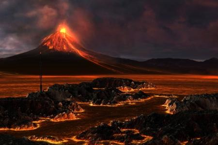 землетрясение: Вулканическая гора - красный лава проходит через ландшафта в вулканических горных взрывается огнем.