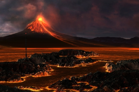 Volcanic Mountain - Red hot lava runs through the landscape as a volcanic mountain explodes with fire. Stock Photo