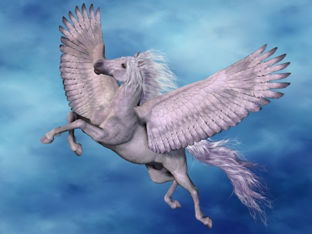 pegasus: White Pegasus - A white Pegasus flies on beautiful white wings through the heavens. Stock Photo