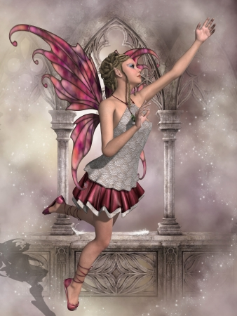 fairy woman: Buttercup Fairy - A fairy called Buttercup flies with beautiful pink wings