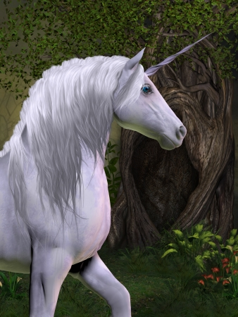 Unicorn Horse - A unicorn buck prances in the magical forest full of beautiful flowers and trees  Stock Photo