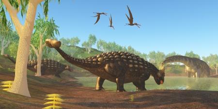 Ankylosaurus - Two Ankylosaurus dinosaurs come down to a swamp to drink as an Argentinosaurus grazes on duckweed  photo
