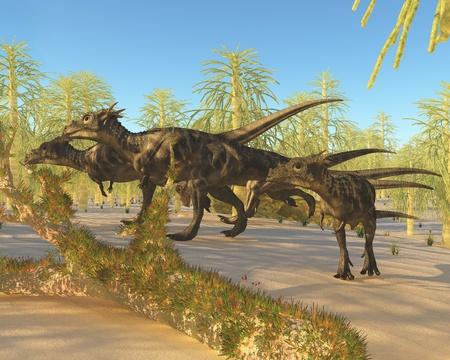 carboniferous: Dracorex - A herd of Dracorex dinosaurs walk through a carboniferous forest in the Cretaceous Era