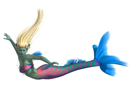 Mermaid on White - A magical legendary creature called a mermaid in the colors of a Parrot fish  Stock Photo