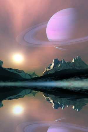 Aura - The planet Saturn lights up the sky of one of its moons called Titan Imagens - 21763334