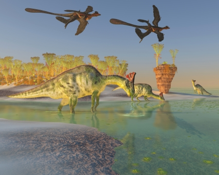behemoth: Olorotitan in Swamp - A family of Olorotitan dinosaurs eat duckweed in a large swamp as two Archaeopteryx birds fly over
