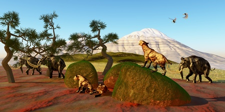 toothed: Saber Toothed Cat Family - A family of Saber Toothed Tigers watch as a herd of Woolly Mammoths pass by their den