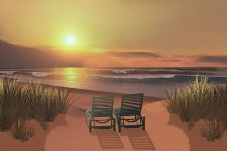 silent: Sunset Beach - Two lounge chairs beckon to anyone visiting this ocean beach at sunset