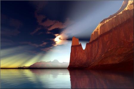 Timekeeper - Sunrays shine down on a calm canyon river as the day starts  Фото со стока
