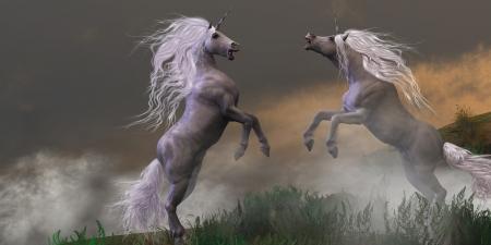 Unicorn Stallions Fighting - Lost in mountain foggy mist two unicorn bucks fight for dominance  Stock Photo