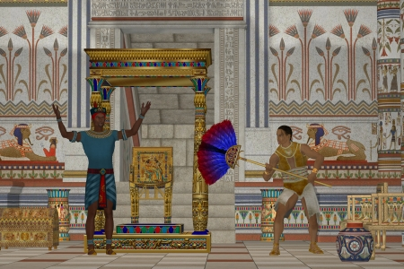 Ancient Egyptian Men - A servant fans the Pharaoh as he talks to his subjects in an Egyptian palace