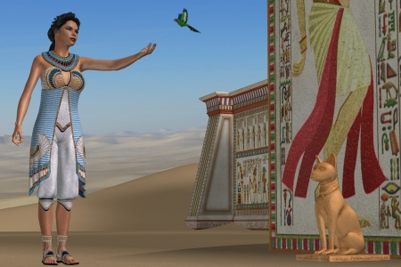 beauty queen: Egyptian Amunet - Amunet, an Egyptian queen, plays with her green parrot in ancient Egypt