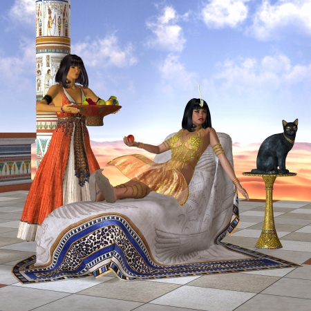 cleopatra: Egyptian Cleopatra - A servant girl brings Cleopatra some fruit to eat in the Old Kingdom of Egypt