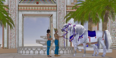 egyptian woman: Egyptian Horses - An Egyptian Pharaoh takes pleasure in his Arabian horses in the courtyard of his palace  Stock Photo