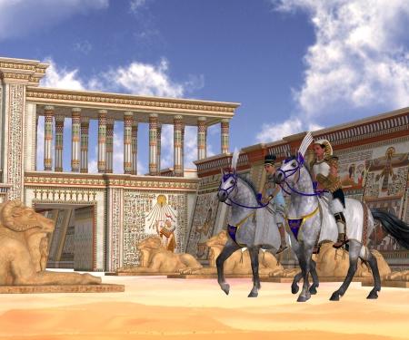 Egyptian Nobility on Horseback - The Pharaoh and queen of Egypt take a ride on horseback through their kingdom