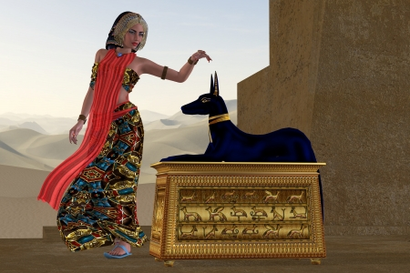 Egyptian Woman and Anubis Statue - An Egyptian queen reaches out to touch the very honored god Anubis in the Old Kingdom of Egypt  photo