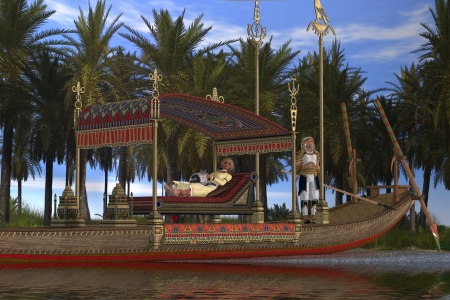 Egyptian Woman and Boat - An Egytpian king and queen wait for servants to take them down the Nile River on a sacred barge
