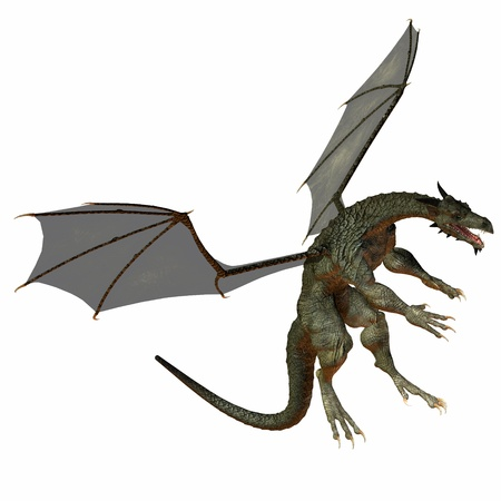 flying dragon: Gray Brown Dragon - A creature of myth and fantasy the dragon is a fierce flying monster with horns and large teeth