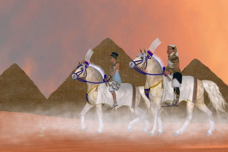civilizations: Great Pyramids and Nobility - Arabian horses carry the Pharaoh and queen of Egypt past the Great Pyramids  Stock Photo