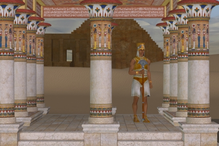 ancient egyptian civilization: Man in Egyptian Clothes - A royal servant guards a palace near one of the pyramids in ancient Egypt