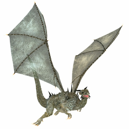 flying dragon: Nice Dragon - Usually a fierce beast this particular dragon in nice, friendly and a warm gray color  Stock Photo