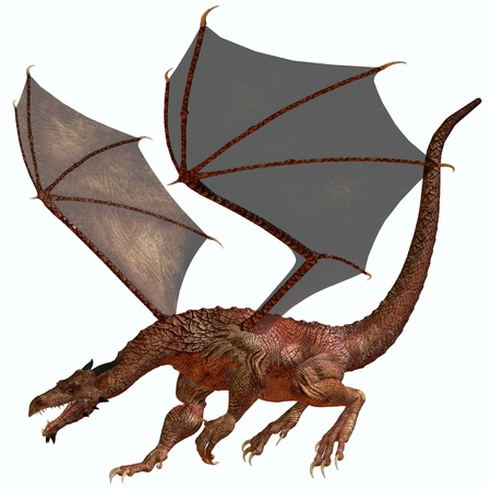 brute: Orange Red Dragon - A creature of myth and fantasy the dragon is a fierce flying monster with horns and large teeth