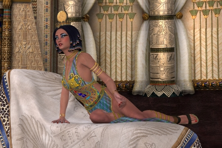Egyptian Lady - An Egyptian Queen listens intently as the Pharaoh talks to her in her chambers